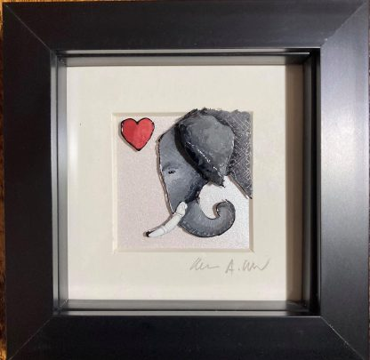 Framed artwork - elephant with a red heart