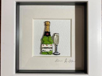 Framed artwork - Bottle of champagne with a flute glass