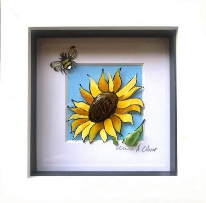 Framed artwork - sunflower with a bee